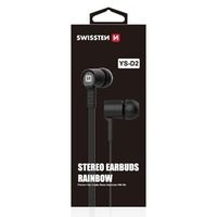 SWISSTEN YS-D2, sluchátka s mikrofonem, bez ovládání hlasitosti, černá, stereo, špuntová typ 3.5 mm