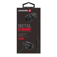 SWISSTEN YS500, sluchátka s mikrofonem, bez ovládání hlasitosti, černá, špuntová typ 3.5 mm jack