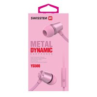 SWISSTEN YS500, sluchátka s mikrofonem, bez ovládání hlasitosti, růžová, 3.5 mm jack špuntová