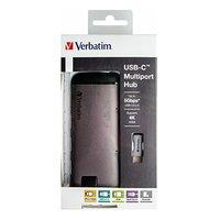 USB (3.1) hub 6-port, 49142, šedá, délka kabelu 15cm, Verbatim, 1x USB C, USB A, HDMI, Ethernet, čte