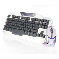 E-BLUE Auroza, Sada klávesnice s optickou herní myší, US, herní, drátová (USB), bílá