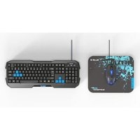 E-BLUE Sada klávesnice Polygon, herní, černo-modrá, drátová (USB), US, s myší Cobra II, a podložkou