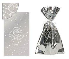 Sáček neprůhledný stříbrný s bílým andílkem 20x35cm