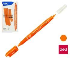 Zvýrazňovač DELI oboustranný EU011-OR oranžový
