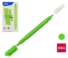 Zvýrazňovač DELI oboustranný EU011-GR zelený