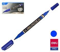Popisovač DELI EU10430 modrý oboustranný permanent (3616)