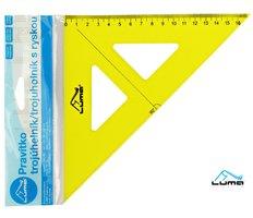 Pravítko trojúhelník s ryskou, žluté LUMA