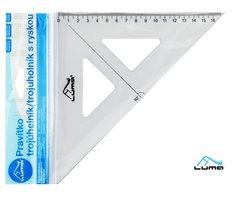Pravítko trojúhelník s ryskou, transparentní LUMA