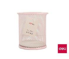 Stojánek drátěný na tužky  DELI 9153 růžový pastel