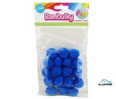 Bambulky modré, 18ks 25mm LUMA