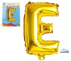 """Balónek foliový  """"E"""" ZLATÝ LUMA"""