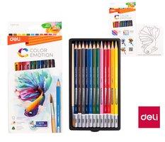 Pastelky DELI aquarelové 12 barev Color Emotion EC00700