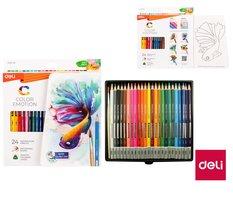 Pastelky DELI aquarelové 24 barev Color Emotion EC00720