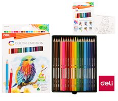 Pastelky DELI trojhranné 18 barev Color Emotion EC00210