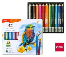 Pastelky DELI trojhranné 24 barev Color Emotion kovové pouzdro EC00225