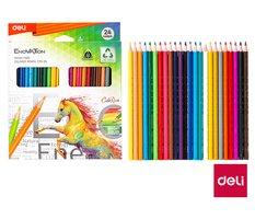 Pastelky DELI trojhranné ColoRun bezdřevé 24 barev EC00120