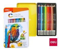 Pastelky DELI trojhranné 12 barev Color Emotion kovové pouzdro EC00205
