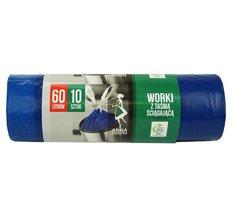 Pytel do koše  60l, 10ks Supersilné modré se zatahovacím páskem