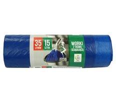 Pytel do koše  35l, 15ks Supersilné, modrý se zatahovacím páskem