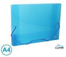 Desky na spisy s gumou, box A4 LUMA, modrý