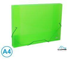 Desky na spisy s gumou, box A4 LUMA, zelený