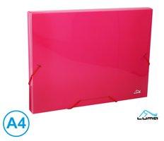 Desky na spisy s gumou, box A4 LUMA, růžový