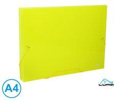 Desky na spisy s gumou, box A4 LUMA, žlutý