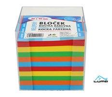 Bloček KOSTKA barevná 90 x 90mm, nelepená + plastová krabička