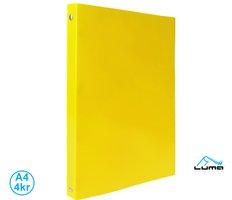Pořadač LUMA A4 neon 4 kroužkový žlutý