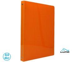 Pořadač LUMA A4 neon 4 kroužkový oranžový