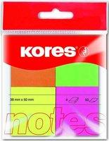Bloček samolepící KORES, 40x50mm, 4x50 listů, multicolor 48450.02
