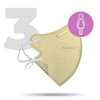 Nano pratelný respirátor, FFP2, béžový, dámský, 3ks, Nanolab