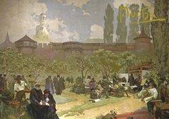 Pohled Alfons Mucha Slovanská epopej – Bratrská škola v Ivančicích, krátký