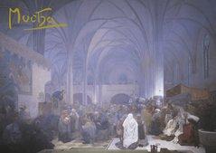 Pohled Alfons Mucha Slovanská epopej – Kázání mistra Jana Husa, krátký