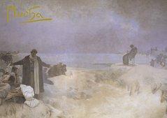Pohled Alfons Mucha Slovanská epopej – Jan Amos Komenský, krátký