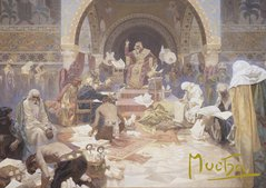 Pohled Alfons Mucha Slovanská epopej – Car Simeon Bulharský, krátký