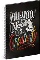 Spirálový blok Mickey – Creativity, linkovaný, A5