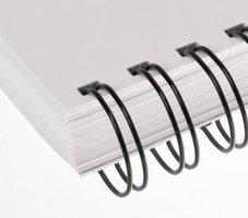 Hřbet kroužkový drátěný  3:1, 6,4mm, černý ,         pro 21-35 listů, 1ks/100