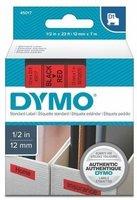 Páska DYMO D1 12mmx7m černý tisk/červený podklad,  S0720570